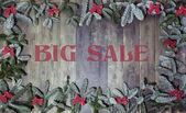 Grande venda de Natal de fundo madeira — Fotografia Stock