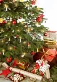 Christmas tree with many presents — Stock Photo
