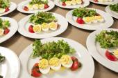 Many salads with egg — Stock Photo