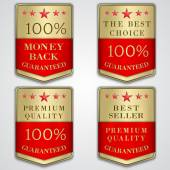 Vector golden badge label set with premium quality and best seller text — Stock Vector