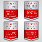 Vector silver badge label set with premium quality and best seller text — Stock Vector