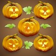 Vector set of  orange halloween pumpkins and leaves — Vecteur #52845463