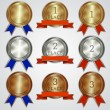 Vector set of metallic badges with ribbons  for the first, second, third place — Stock Vector #53869607