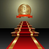 Vector abstract illustration of red carpet and first place gold medal — Vetorial Stock