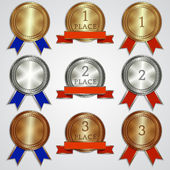 Vector set of metallic badges with ribbons  for the first, second, third place — Stock Vector