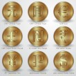 Vector illustration set of gold coins with different currency signs — Stock Vector #54934473