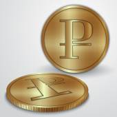 Vector illustration of gold coins with rouble currency sign — Stok Vektör