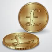 векторная иллюстрация золотых монет с знак валюты фунт gbp — Cтоковый вектор