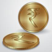 Vector illustration of gold coins with Indian Rupee currency sign — Stok Vektör