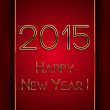 Vector rectangle red greeting new year 2015 postcard with golden letters — Stock Vector #56022493