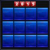 Calendar 2015 vector Sunday first american week 12 months blue — Stock Vector