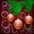 Vector christmas illustration with tree branch and balls on bokeh background — Stock Vector #57699163