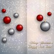 Vector christmas greeting card with balls on snow background — Stock Vector #57955489