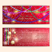 Vector abstract red Christmas and New Year Greeting or Invitation — Stock Vector