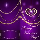 Carte d'invitation lilas vecteur Saint Valentin avec les cœurs et les bijoux d'or — Vecteur