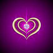 Vector abstract bright purple background with golden hearts and gemstone — Stockvektor