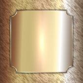 Vector precious metal golden plate on patina background — Stock Vector