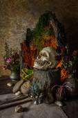 Still life with a human skull with desert plants, cactus, roses  — Foto Stock