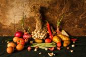 Still life photography with spices, herbs, vegetables and fruits — Stock Photo