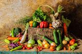 Zátiší zeleniny, bylin a ovoce. — Stock fotografie