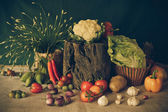 Still life  Vegetables, Herbs and Fruits. — Stock Photo