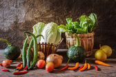 Still life  Vegetables, Herbs and Fruit as ingredients — Stock Photo