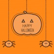 Halloween card with hanging pumpkin and two spiders. — Stock Vector #52517461