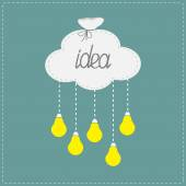 Cloud in shape of bag and hanging light bulbs. Innovation idea concept. — Stock Vector