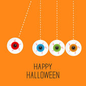 Hanging eyeballs with bloody streaks — Stock Vector