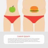 Healthy unhealthy food apple hamburger — Stock Vector