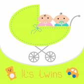 Baby carriage. It's twins boy and girl. — Stock Vector