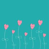 Pink strip heart flowers. — Stock Vector