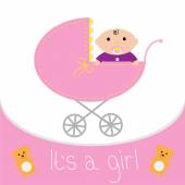 Baby pink carriage. It's a girl — Stock Vector