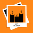 Instant photo with candle set. Happy Halloween card — Stock Vector #53384669