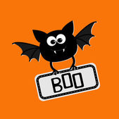 Cute bat with plate boo. Happy Halloween card — Stock Vector