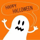 Schattig ghost monster met tekst tekstballon. gelukkig halloween-kaart. — Stockvector