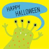 Cute green monster with speech text bubble. Happy Halloween card — Stock Vector