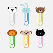 Paperclips with animal head set. Panda, rabit, dog, cat, lion, bear. Flat design. — Wektor stockowy