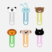 Paperclips with animal head set. Panda, rabit, dog, cat, lion, bear. Flat design. — Stockvektor