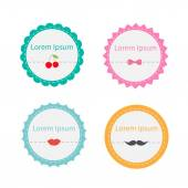 Cute round tag label set with dash line — Stok Vektör