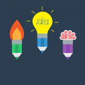 Pencil set with yellow light bulb lamp, rocket fire and brain Business Idea concept. — Stockvektor