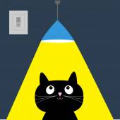 Black cat and ceiling light lamp. Yellow ray of light — Stock Vector