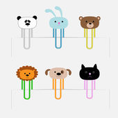 Paperclips set with animal heads. Panda, rabbit, dog, cat, lion, bear — Wektor stockowy