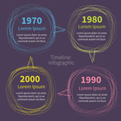 Timeline Infographic with scribble speech bubble and text on dark. — Stock Vector