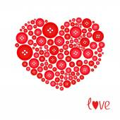 Red heart made from buttons — Stock Vector