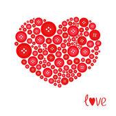 Coração vermelho feita de botões — Vetor de Stock