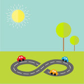Road infinity sign with cartoon cars — Vettoriale Stock
