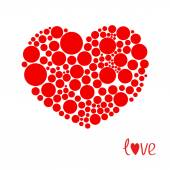 Red heart made from many round dots — Stock Vector