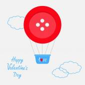 Valentine's day hot air balloon — Stock Vector