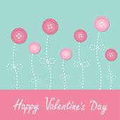 Valentine's day pink button flowers. — Stock Vector